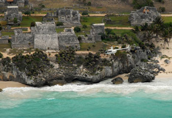 Helicopter flights over the tulum ruins