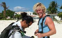 one satisfied customer after his tandem jump over the riviera maya