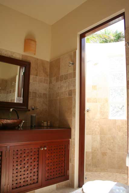 bathroom with out side shower at maya jardin