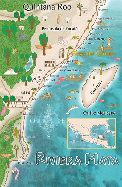 map of cancun and playa del carmen mexico Maps Playa Del Carmen Quintana Roo Riviera Maya Map map of cancun and playa del carmen mexico
