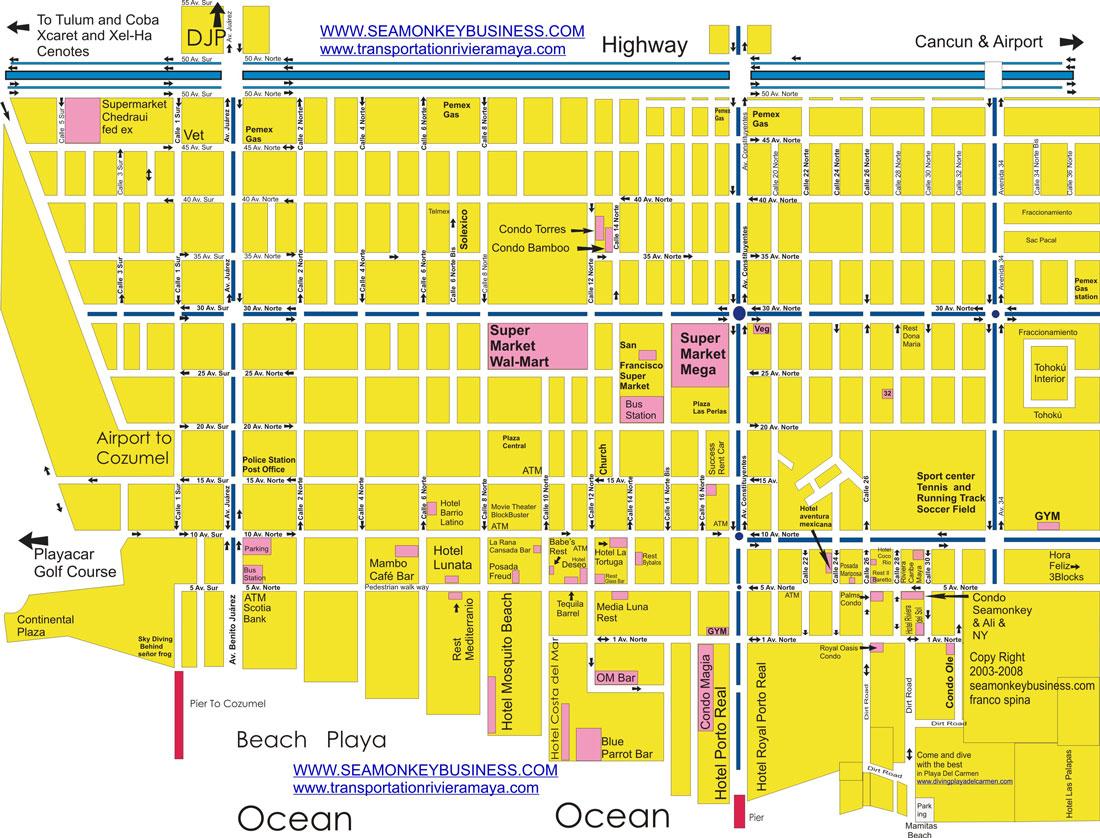 Detailed Map Of Playa Del Carmen